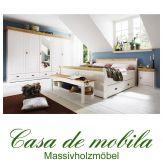 Massivholz Schlafzimmer Kiefer komplett 5-teilig NEAPEL - weiß gewachst / Absetzungen gelaugt