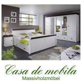 Massivholz Schlafzimmer Kiefer komplett 4-teilig NEAPEL - weiß gewachst / Absetzungen kolonial