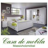 Massivholz Schlafzimmer weiß Kiefer massiv komplett 4-teilig Landhausstil NEAPEL