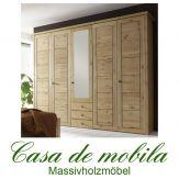 Massivholz Kleiderschrank Kiefer massiv gelaugt geölt Schlafzimmerschrank naturholz RAUNA - 5-türig mit Spiegel