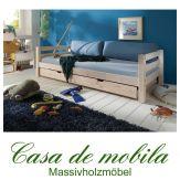 Massivholz Schubkastenbett Kiefer INFANSKIDS - 90x200 mit Gästebett-Schublade, weiß lasiert