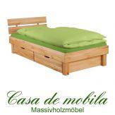 Massivholz Doppelbett mit schubladen Kernbuche massiv geölt holzbett CAMPINO - 180x200, 4 Schubladen, natur geölt