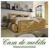 Massivholz Schubladenbett 160x200 Astkiefer massiv gelaugt geölt GLORIA Comfort