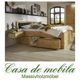 Massivholz Schubladenbett 140x200 Astkiefer massiv gelaugt geölt GLORIA Comfort Leder