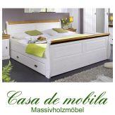Bett 140x200 mit Schubladen Kiefer massiv weiß / Absetzungen honig NEAPEL