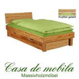 Massivholz Bett mit schubladen eiche massiv geölt  Wildeiche CAMPINO Schubladenbett 100x200, 1 Schublade