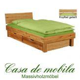 Massivholz bett mit schubladen eiche massiv geölt  Wildeiche CAMPINO Schubladenbett 100x200, 2 Schubladen,