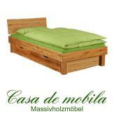 Massivholz Doppelbett mit schubladen Wildeiche massiv geölt holzbett CAMPINO Schubladenbett 140x200, geschlossenes Kopfteil, 2 Schubladen