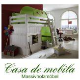 Massivholz Abenteuerbett 90x200 mit Vorhang - Holz Kiefer massiv weiß lasiert INFANSKIDS Lime