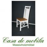 Massivholz Stuhl Stühle Holzstuhl Kiefer massiv weiß gelaugt geölt 2-farbig BOSTON