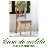 Stuhl Stühle mit Polster landhausstil Kiefer massiv gelaugt geölt - WINDSOR