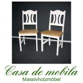 2er-Set Stühle Kiefer massiv weiß gelaugt geölt 2-farbig KRISTEL