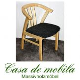 Armlehnstuhl Kiefer massiv natur lackiert Holzstuhl FARO mit Sitzpolster steingrau