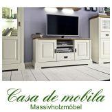 Massivholz TV-Lowboard Holz Kiefer massiv champagner lackiert / Wildeiche geölt NORDIC HOME mit 1 Schublade