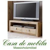 Massivholz TV-Lowboard TV-Kommode Holz Wildeiche massiv geölt - MESSINA