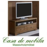 Massivholz TV-Lowboard Kiefer massiv GULDBORG TV Kommode 120 cm honig lackiert