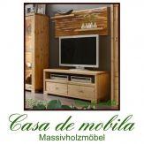 Massivholz TV-Lowboard + CD-Regal Kiefer massiv GULDBORG - gelaugt/geölt