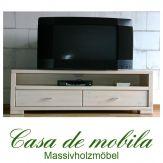 Massivholz TV-Lowboard TV Kommode Kiefer massiv weiss GULDBORG 160 cm