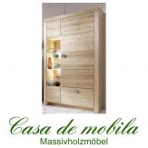 Massivholz Highboard Vitrinenschrank Holz Wildeiche massiv geölt - MESSINA
