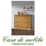 Massivholz Wäschekommode Kiefer massiv ROLAND - honig lackiert