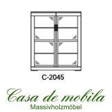 Massivholz Glasvitrine Buche massiv natur geölt CASERA - Vitrine 2-türig Kernbuche / Rotkernbuche