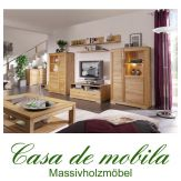 Massivholz Wohnwand Buche massiv natur geölt CASERA - Wohnzimmer Kernbuche / Rotkernbuche