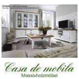 Wohnzimmer komplett Schleiflack weiß ROXANNE Buche Eiche - Wohnzimmer-Set 3-teilig teilmassiv
