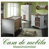 Massivholz Babyzimmer / Kinderzimmer Set 4-tlg Kiefer massiv JULIA  2-farbig weiß  / honig lackiert