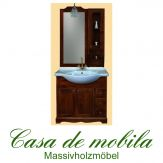 Massivholz  Badmöbel Badezimmer Kolonial set Pappel massiv AQUA - 85cm, mit Regal