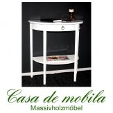 Massivholz Konsolentisch halbrund weiß Wandtisch Telefontisch Beistelltisch Pappel massiv lackiert DECOR