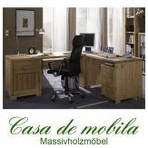 Massivholz Eck-Schreibtisch Kiefer massiv gelaugt geölt Winkelschreibtisch GULDBORG 229x189,
